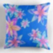 blue tropical flower fabric