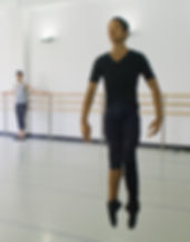 Gabe Shayer dancing in a studio during the Bolshoi Ballet Academy Summer Intensive