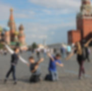 NSLI-Y participants posing in front of St. Basil's Cathedral in Moscow's Red Square.
