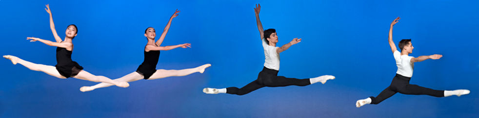 Bolshoi Ballet Academy Summer Intensive in Connecticut fina perfrormance photo featuring two female dancers in grand jete and two male dancers jumping