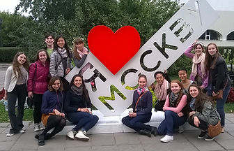 A group of NSLI-Y participants posing in Moscow in front of the I Love Moscow sign.