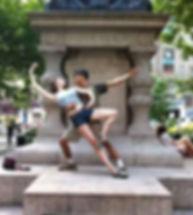 Bolshoi Ballet Academy Summer Intensive couple posing in passé in New York City.