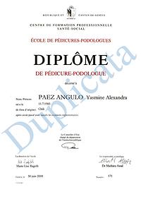 Diplôme Podologue Paez HygiFeet