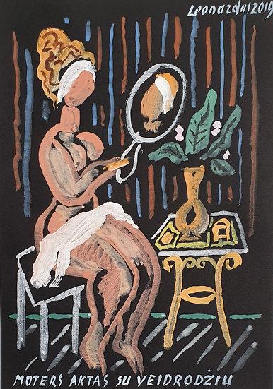 Leonardas Gutauskas, Moters aktas su veidrodžiu, 2019