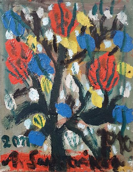 Augustinas Savickas, Raudonos gėlės, 2011