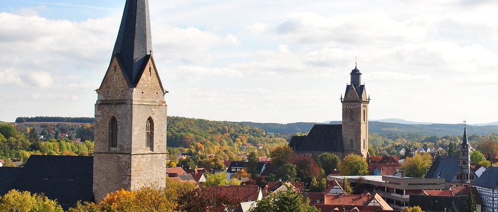Stadtüberblick Korbach mit Blick auf Kiliankirche und Nikolaikirche
