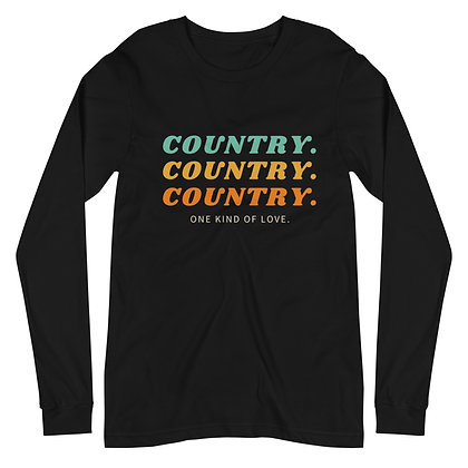 """Country."" Long Sleeve Tee Blk"