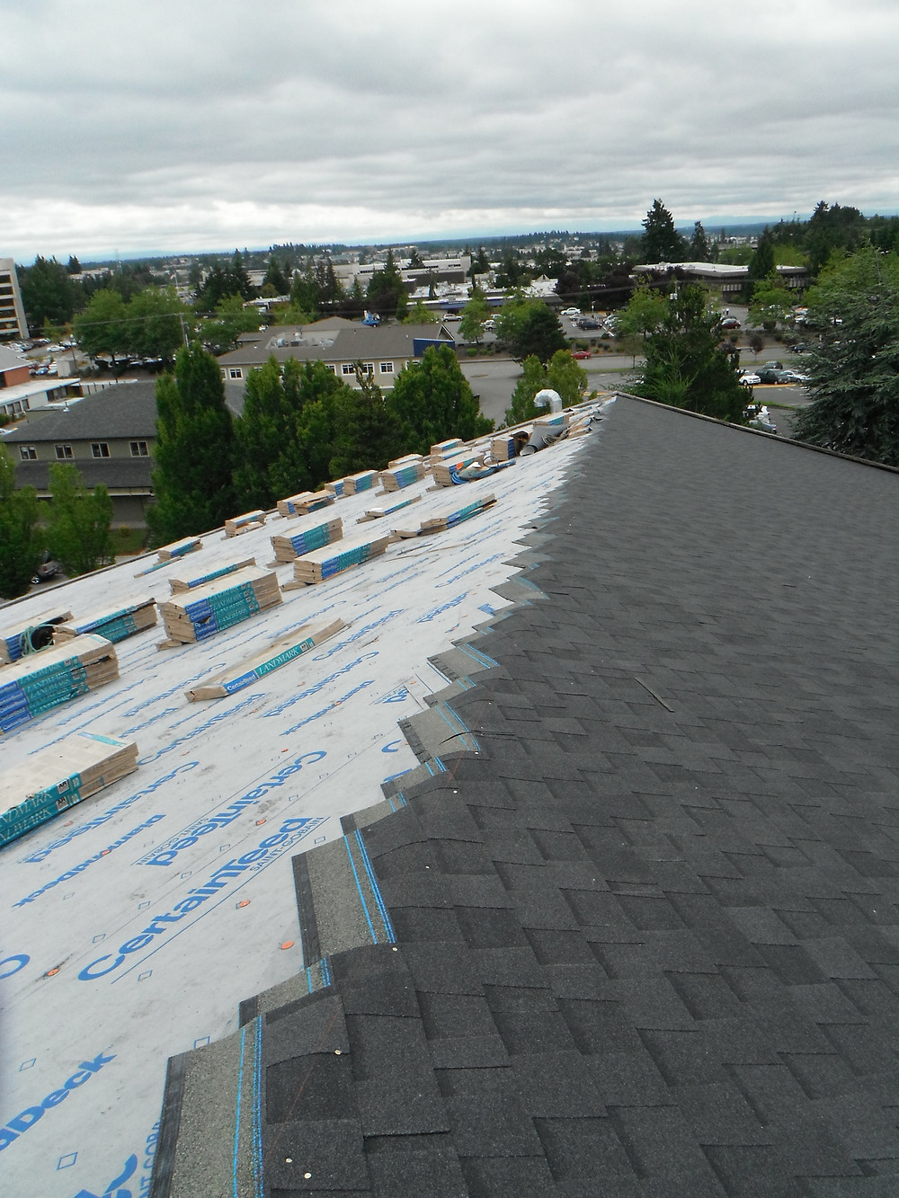 Installing a new roof.