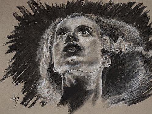 Bride of Frankenstein Original Charcoal - 9x12