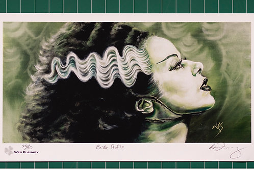 Bride of Frankenstein Profile Signed and Numbered 19x10.5 Print*