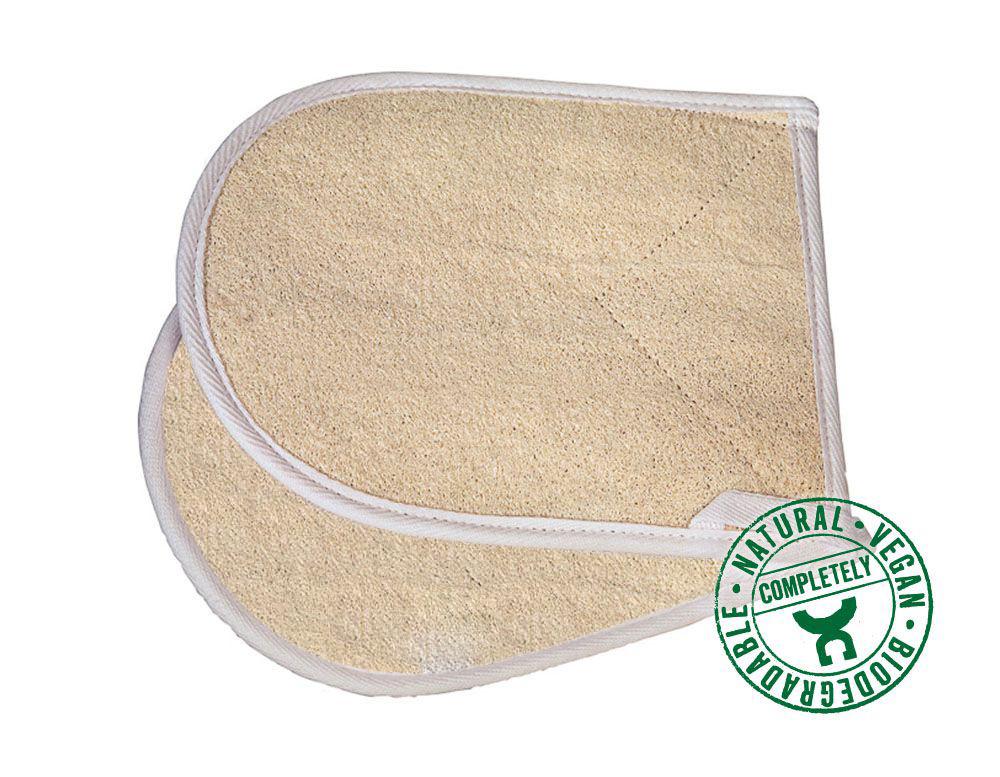 Deze tweezijdige washand van loofah en bio-katoen reingt de huid diep en is bijzonder geschikt voor peeling.