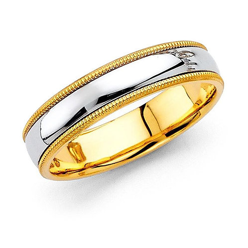 14k Two-tone Gold Men's 5-mm Milligrain Comfort-Fit Wedding Band