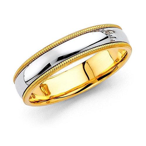 14k Two-tone Gold Men's 5-mm Milligrain Comfort-Fit Wedding Band