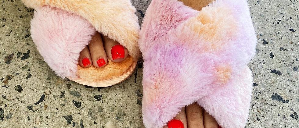 Orange Rainbow Luxe Slippers
