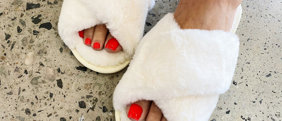 White Luxe Slippers