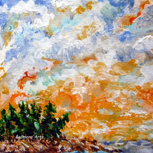 Island with Orange Sky by Laurie Lofman Bellmore