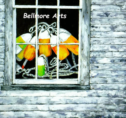 Yellow Buoys in Window by Laurie Lofman Bellmore