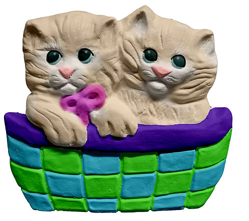 Two Kittens in Basket Plaque Painting Kit