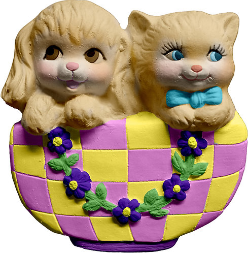 Dog and Cat in Basket Plaque Painting Kit