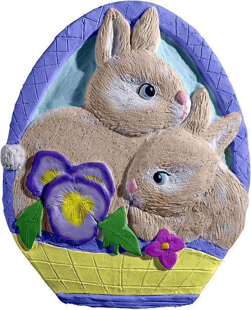 Bunnies in Basket Plaque Painting Kit
