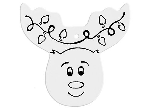 Hand Detailed Reindeer Head Party Ornament Painting Kit