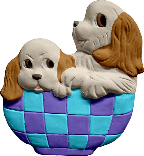 Two Pups in Basket Plaque Painting Kit