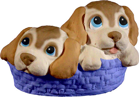 Two Pups in Basket Statue Painting Kit