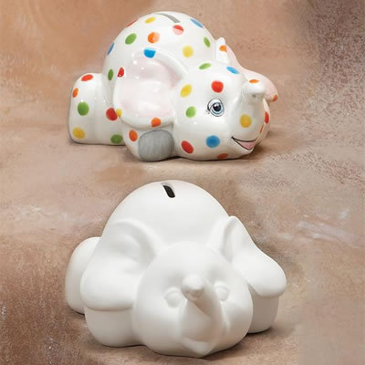 ELEPHANT BANK with STOPPER Painting Kit