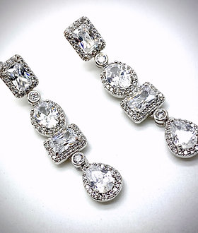 Multi-shape CZ dangle earrings with halos  1.5""
