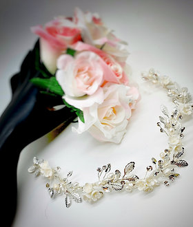 Pearlized flower trio, with leaves, crystals, and FWPs headband