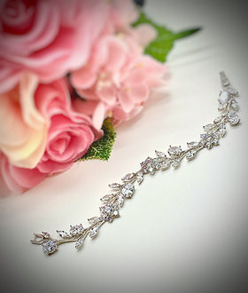 Delicate vine and flower CZ bracelet