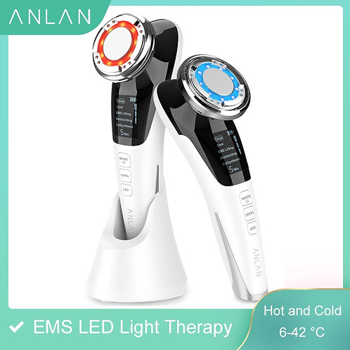 LED Light Wrinkle Remover Therapy Vibration Facial Massage Hot Cool Treatment
