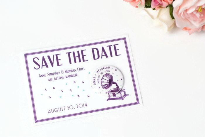 Vintage Gramophone Save the Date