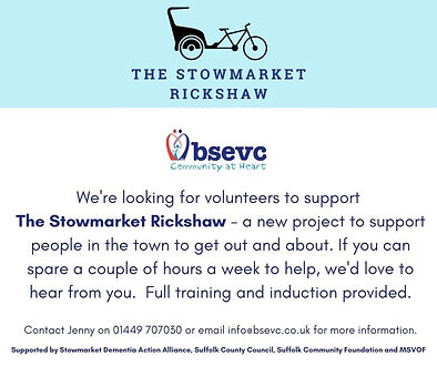 Volunteers wanted for The Stowmarket Rickshaw Project