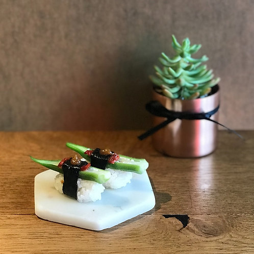 Okra with Sundried Tomato Sushi with Yuzu Miso