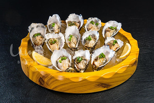 Fresh Oysters - Dozen Steamed with ginger, leek & soy sauce