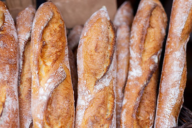 Fresh tasty Baguettes on street food mar