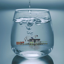 city in water cup