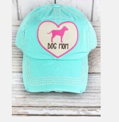 "Distressed Cap ""Dog Mom Heart"""
