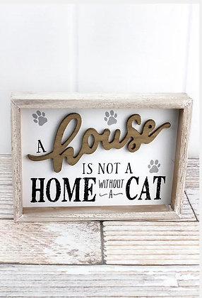"7 x 9.5"" 'Not a Home Without a Cat' Wood Box Sign"