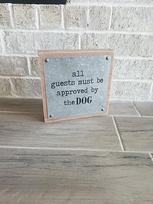 """8"""" x 8"""" 'Must be approved"""" Wood and Tin Box Sign"""