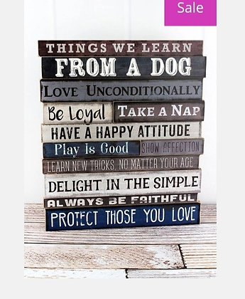 "18.5"" x 16"" 'Things We Learn From a Dog' Wood Sign"
