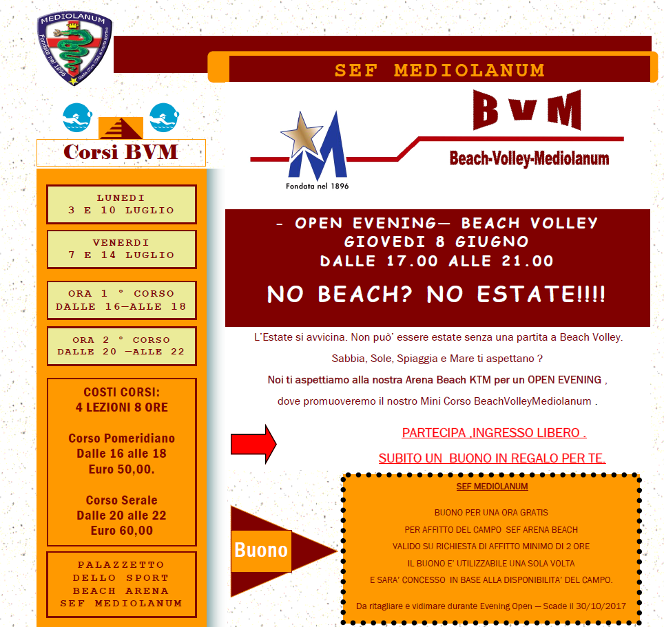 OpenEveningBeachVolley - SEF Mediolanum