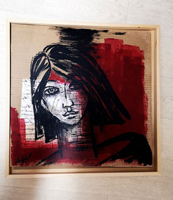 croquis collage - visage - acrylique  sur carton