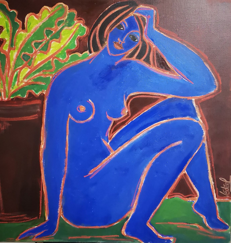 Grand nu bleu - acrylique sur toile