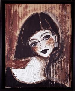 portrait collage 3 - acrylique  sur carton