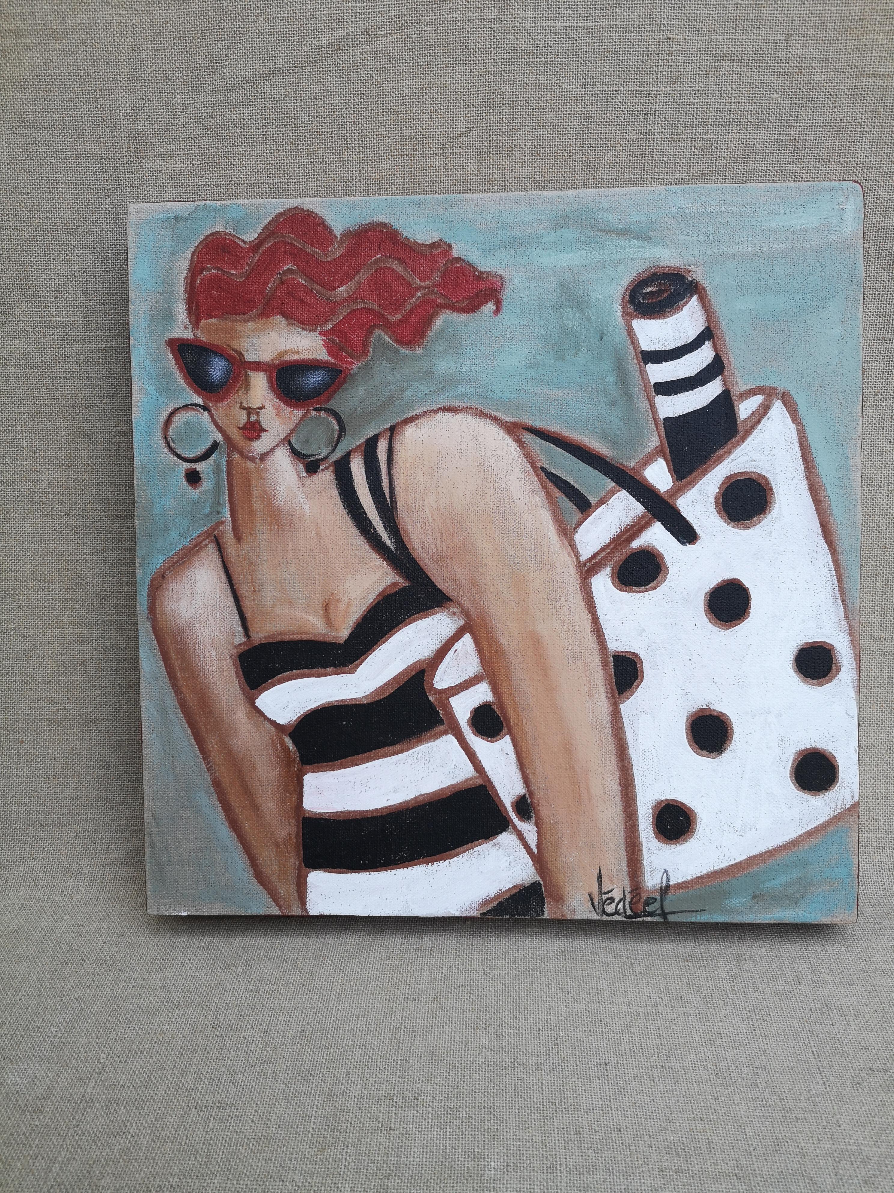 tenue de plage - acrylique sur toile