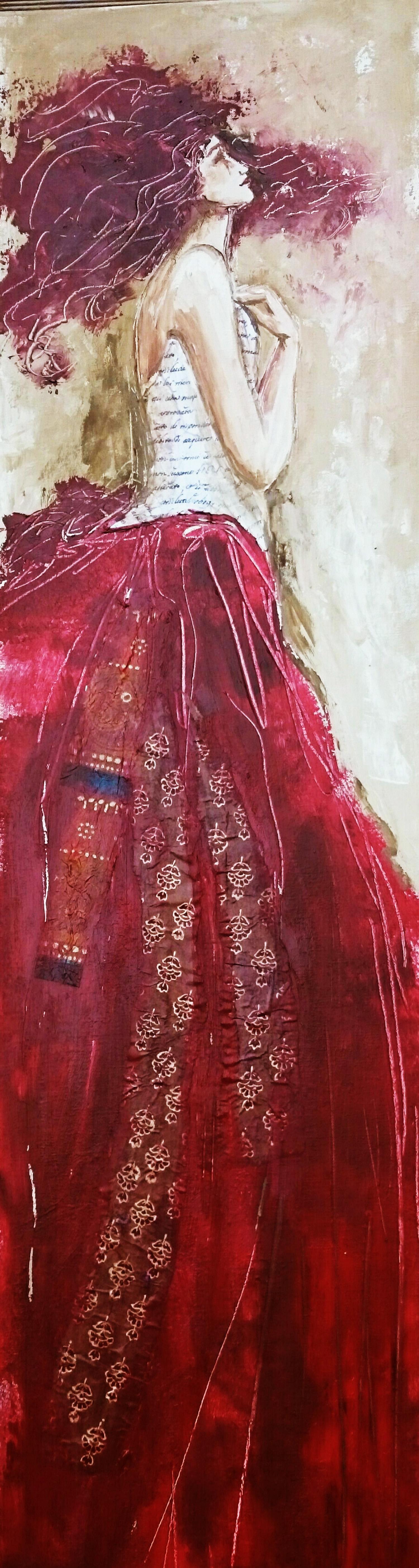 Les jupons rouge -  acrylique sut toile