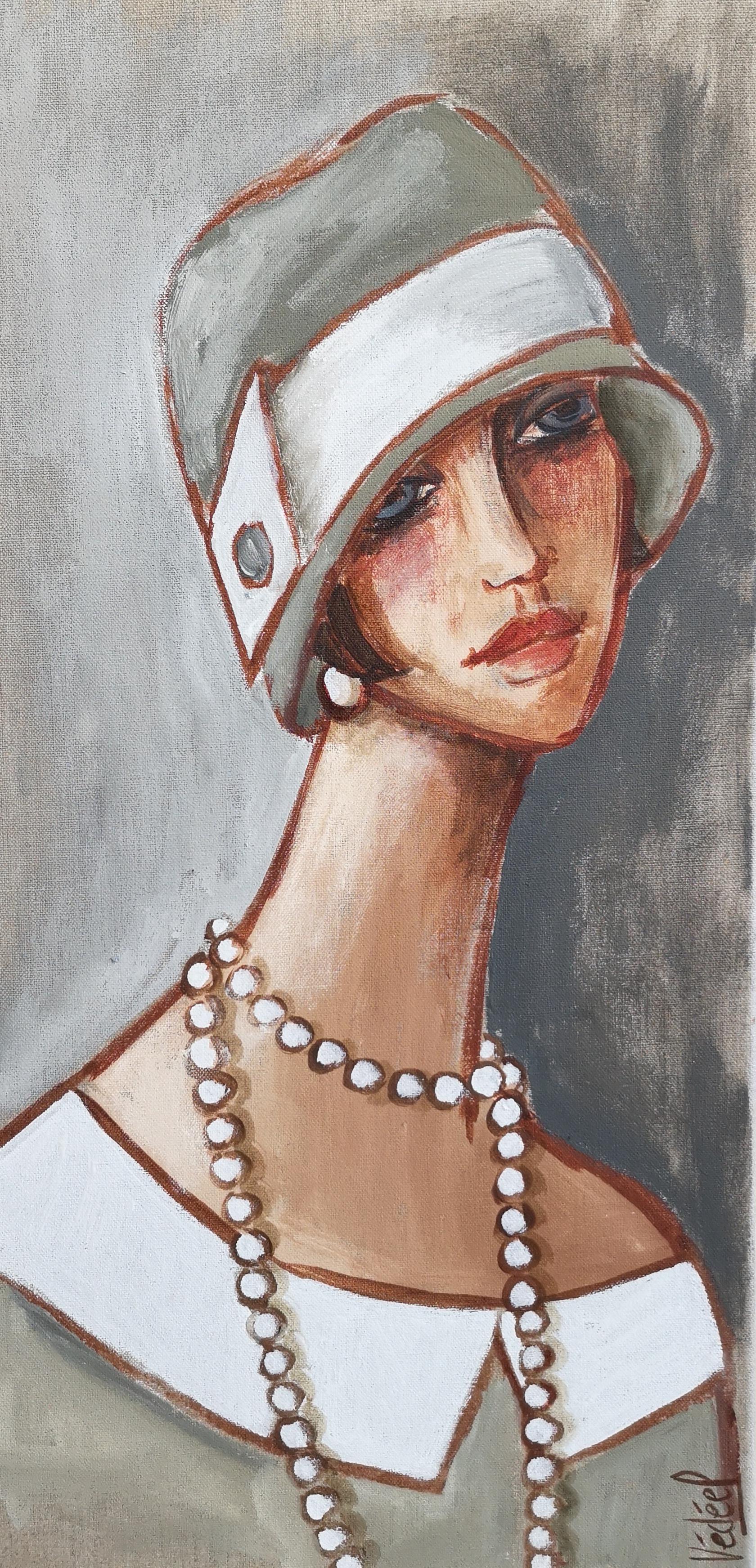 le chapeau gris - acrylique sur toile