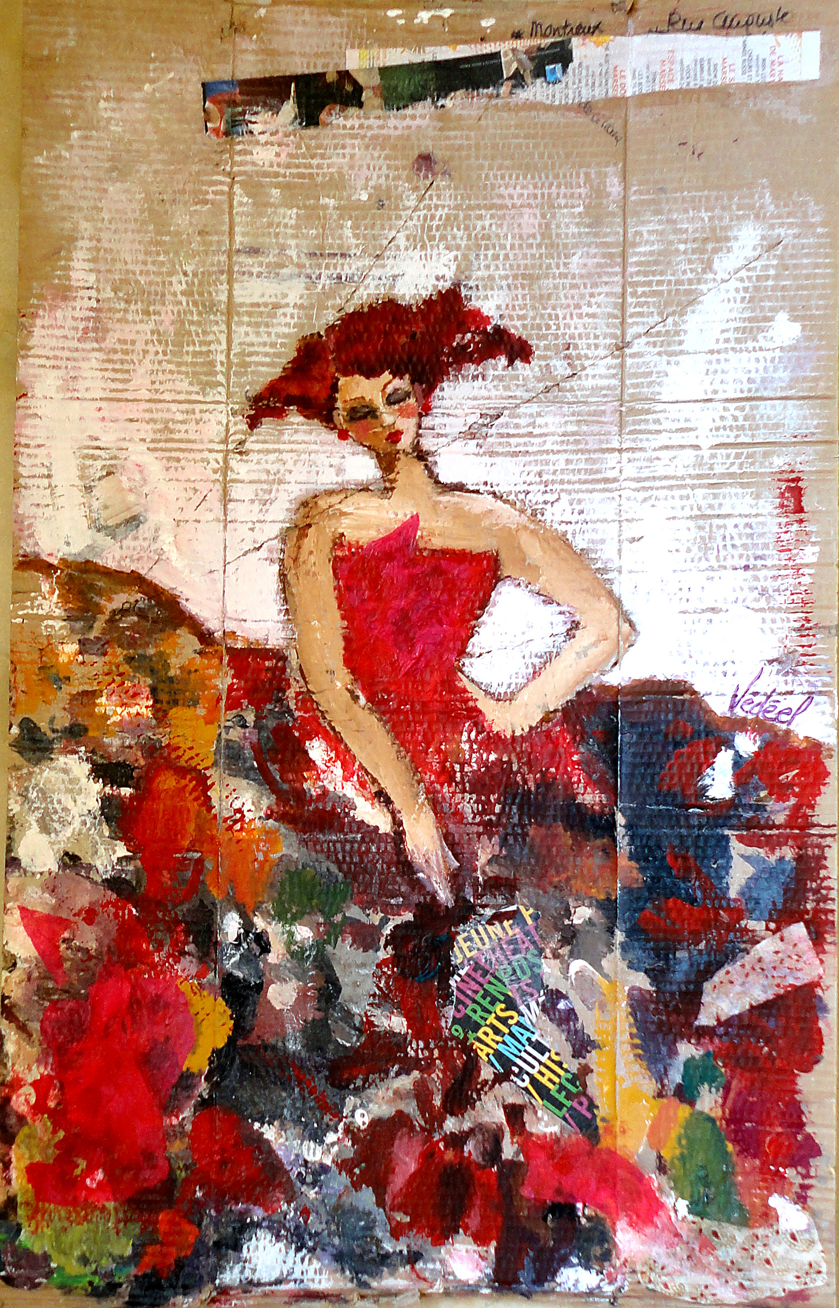 Grande palette - flamenco - acrylique  sur carton